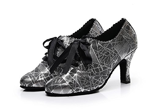 Closed Latin 5 UK Shoes Dance Ballroom Black Ribbon Party 6 Pumps MINITOO Floral Evening Ladies Toe q4wgt0Z