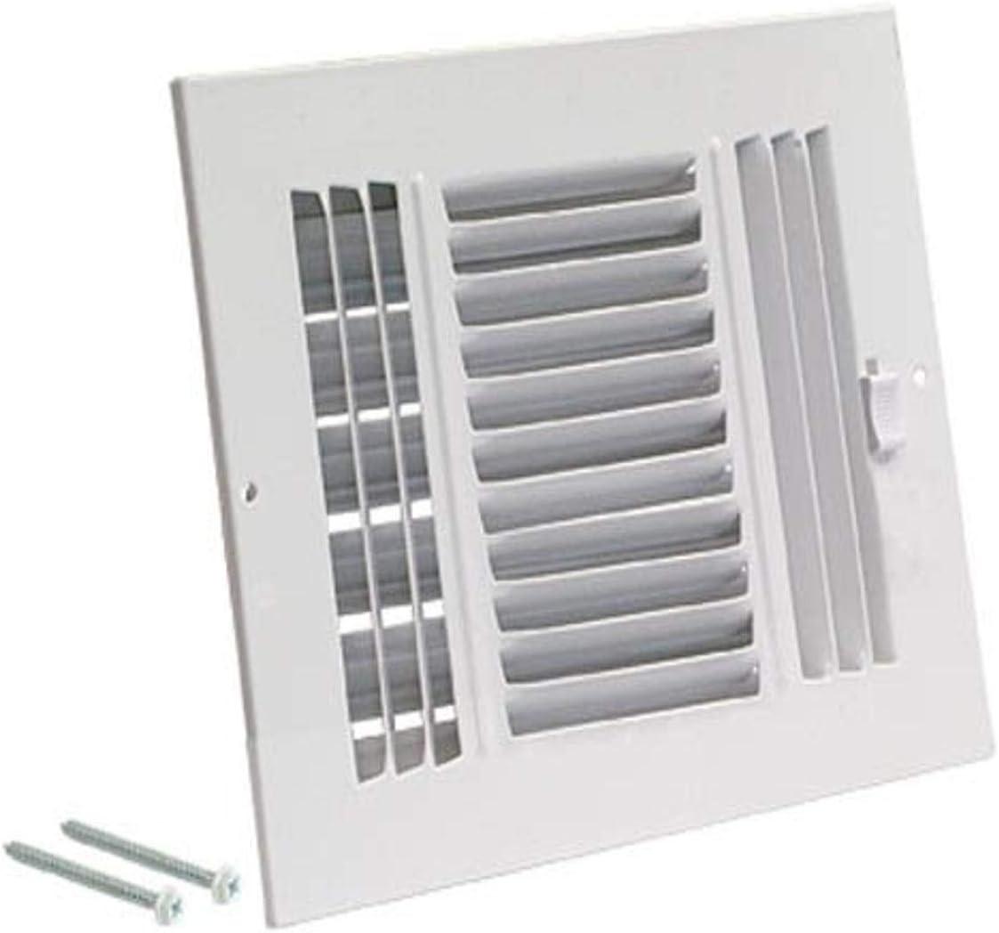 EZ-FLO 61614 Three-Way Sidewall/Ceiling Register, 10 inch x 6 inch Opening, White