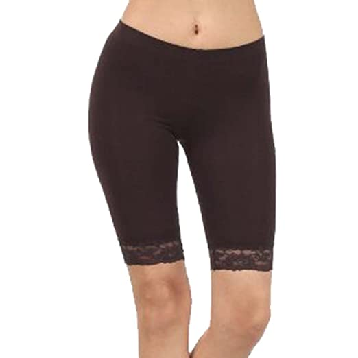 4289a2c4847ac Ladies Stretchy Trim Above Knee Cycling Shorts Active Legging with Lace  Detail at Amazon Women's Clothing store: