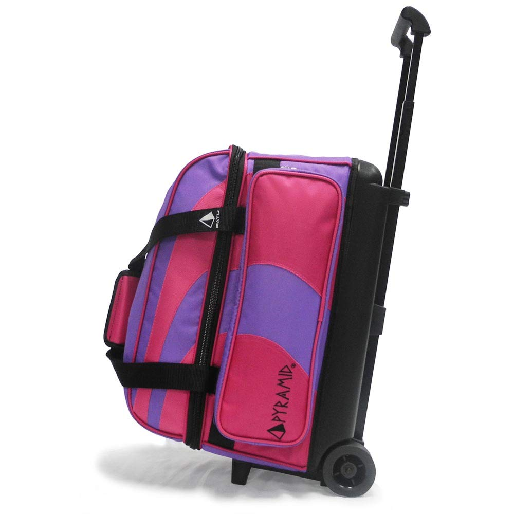 Pyramid Path Deluxe Double Roller with Oversized Accessory Pocket Bowling Bag (Purple/Hot Pink) by Pyramid