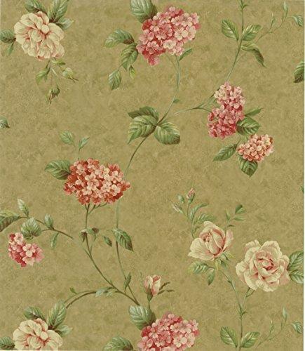 (Warner CCP12142 Glenmont Olive Floral Trail Wallpaper, Blush )