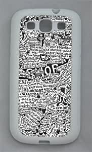 Art Newspaper Samsung Galaxy S3 I9300 Rubber Shell with White Edges Cover Case by Lilyshouse by ruishername