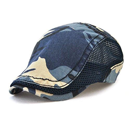(GADIEMENSS Mesh Fashion Cap Flat Cap Bill Camouflage Beret Coffee Hats for Men Ivy Mesh Cap Woman Cap Camouflage Sport Cap Mesh Summer Breathable Blue)