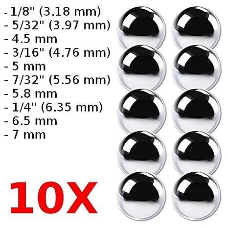 0,08 Pulgadas Bola de Acero para chupito GEZICHTA 50 Piezas de 200 Bolas de rodamiento Sueltas para Bicicleta 0,12 Pulgadas 0,16 Pulgadas 0,24 Pulgadas 0,2 Pulgadas