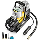 AstroAI Portable Air Compressor Pump 150 PSI, Digital Tire Inflator 12V DC Electric Gauge with Larger Air Flow 35L/Min, LED Light, Overheat Protection, Extra Nozzle Adaptors and Fuse