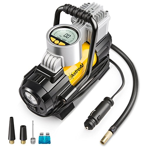 AstroAI Air Compressor Pump, 150 PSI 12V Electric Portable Digital Tire Inflator with Extra Nozzle Adaptors and Fuse for Car Bike Tires and Other Automobiles