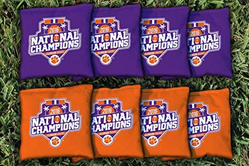 Victory Tailgate NCAA Collegiate Regulation Cornhole Game Bag Set (8 Bags Included, Corn-Filled) - Clemson Tigers 2016 Champions