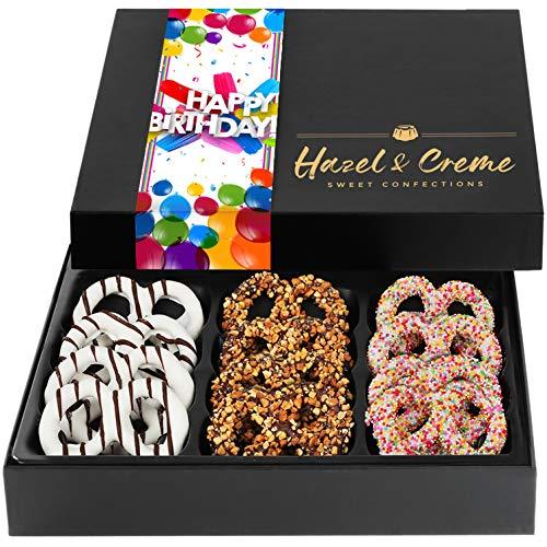 Hazel & Creme Chocolate Covered Pretzels – HAPPY BIRTHDAY Chocolate Gift Box – Gourmet Food Gift (Large Box)