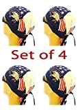Doo Rag Set of 4 American Flag Food Service Skull Cap Head Wrap Chef Cook