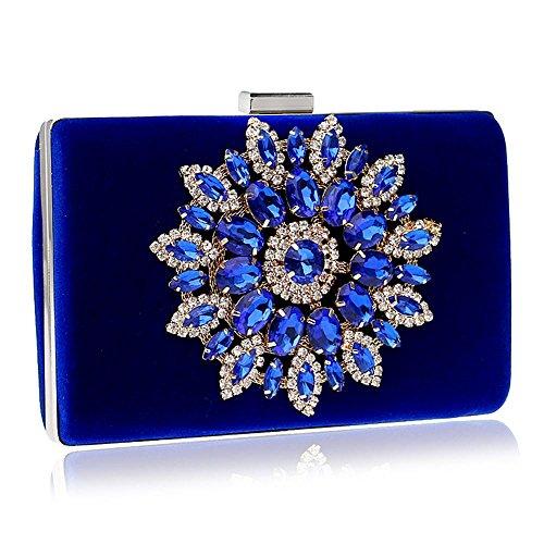 per strass evento da con Handbag Clutch festa blue sera TUTU bordino in blue sera donna sposa Borsa da in Borse da cristallo raso da wqx6AO7