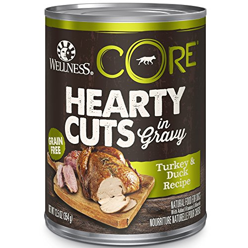 Wellness Core Hearty Cuts Natural Wet Grain Free Canned Dog Food, Turkey & Duck, 12.5-Ounce Can (Pack Of 12)