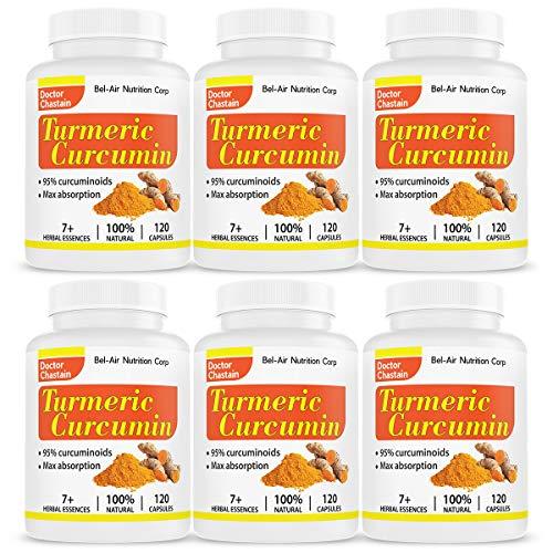 6-bottle Pack Bel-Air Turmeric Curcumin with black pepper extract, 100 potent curcumin and standardized to 95 Curcuminoids, 120 veggie capsules tumeric curcumin supplement, best tumeric supplement