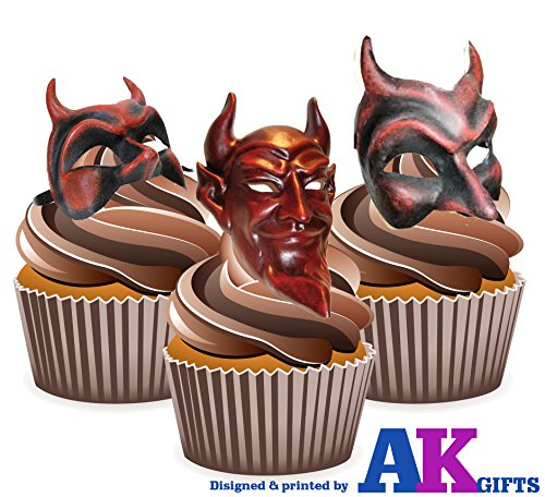 Price comparison product image AKGifts Masquerade Ball Masks,  Devil Mix - Edible Stand-up Cupcake Toppers (pack of 12)