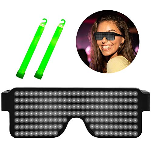 Suruid Dynamic LED Glowing Glasses USB Rechargeable LED Light Up Glasses with Flashing Neon, 8 Patterns LED Luminous Eyeglasses for Parties, Nightclub, Halloween, Concerts-White ( with 2 Light Stick)]()