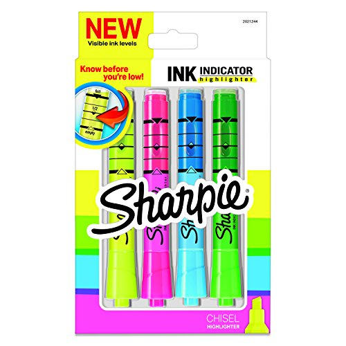 (Sharpie Ink Indicator Tank Highlighters, Chisel Tip, Assorted Fluorescent, 4 Count)