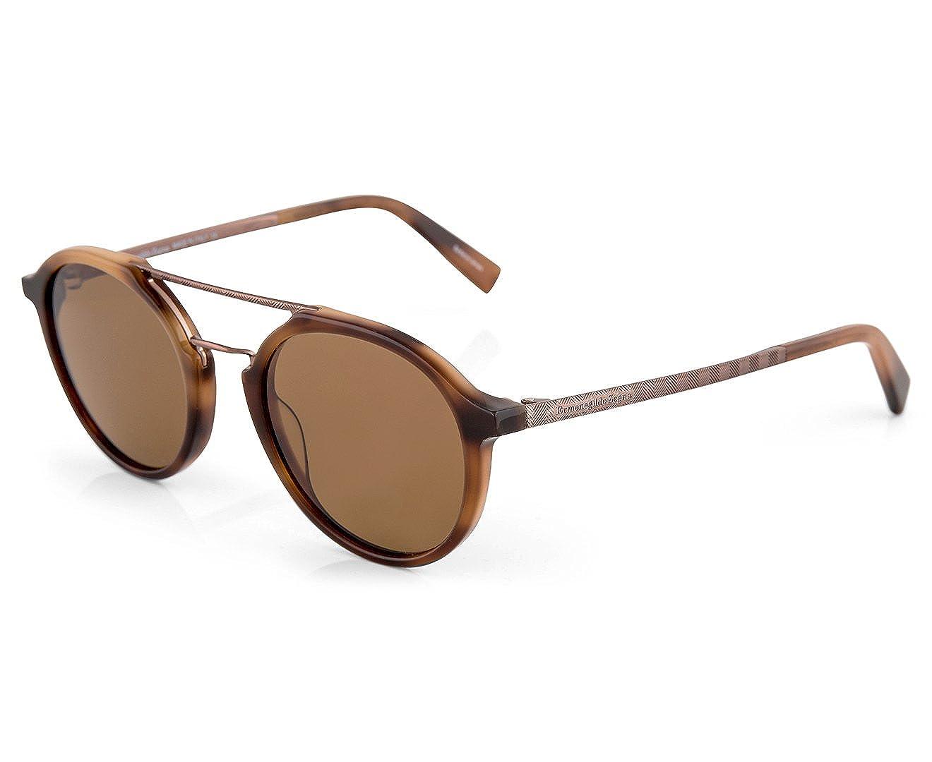 5f20d80e559f Amazon.com: Ermenegildo Zegna EZ0070 - 52E Sunglasses dark havana frame w/  brown Lens 50mm: Clothing
