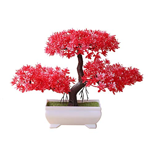 dezirZJjx Artificial Plants Welcoming Pine Bonsai Simulation Artificial Potted Plant Ornament Home Decor - Red
