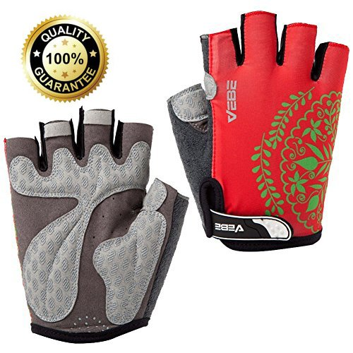 About Colour - VEBE Women/Girls/Boys Half Finger Anti-slip Biking Gloves Cycling Gloves Riding Accessories,color Red, palm width about 9-10 cm