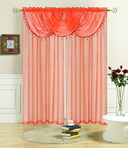 Orange Solid Sheer Voile Window Treatment Lisa Curtain Panel, Waterfall Fringe Valance by Window Treatment