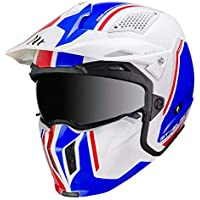 -MT- Casco CONVERTIBLE STREETFIGHTER TWIN B7 Blanco Azul