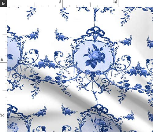 Blue Toile Fabric - Toile Floral Hand Drawn Illustration Toile Roses Redoute Rococo Flowers Farmhouse French by Lilyoake Printed on Modern Jersey Fabric by The Yard