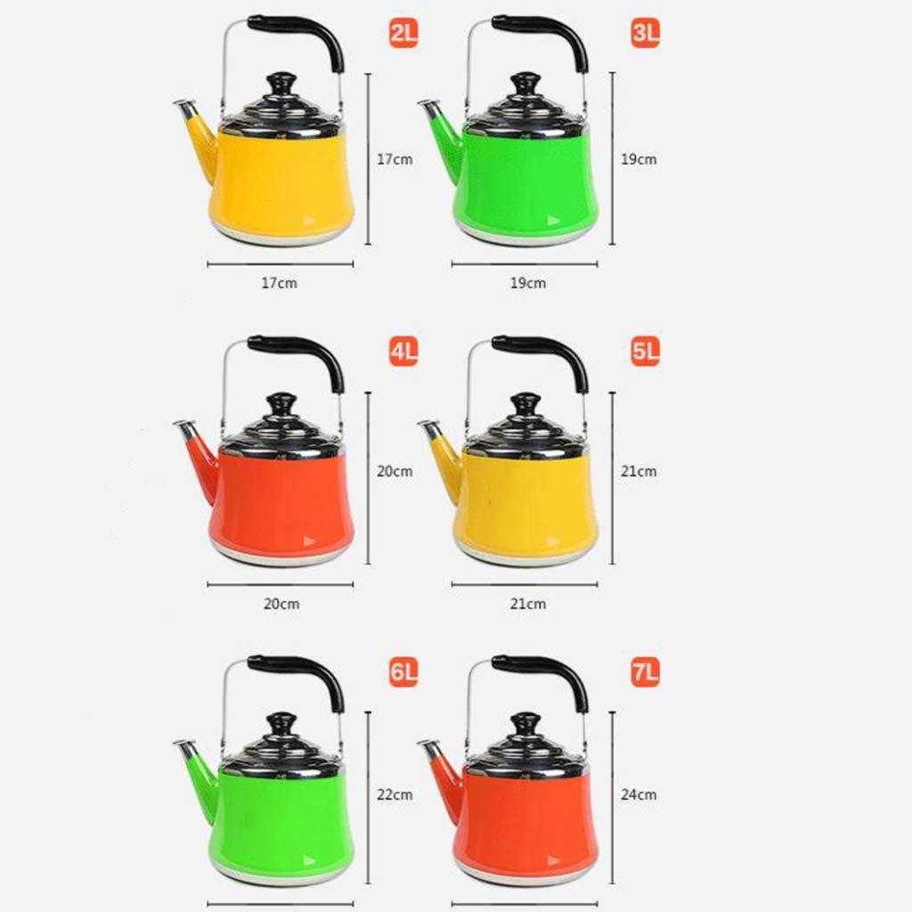 Manico Pieghevole Fast a bollire Acqua Tea Kettle Piano Cottura teiera in Acciaio Inox Calda bollitore fischio -Specchio Finsh Whistling Teakettles,Verde,1L