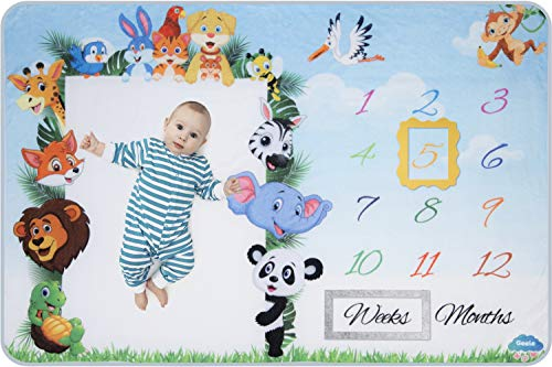 Baby Monthly Milestone Blanket Boys & Girls | Premium Soft Fleece with 2 Frames | Large Animal Photo Blanket for Infants & Newborns]()