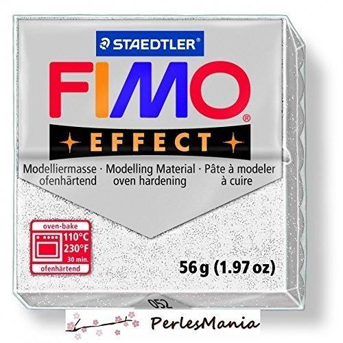 1pan 56G Pate polímero Fimo Effect blanco Paillete 8020–052 perlesmania.com