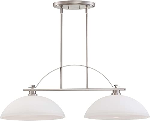 Nuvo Lighting 60 5018 Bentley Two Light Island Pendant 60 Watt A19 Max. Frosted Glass Brushed Nickel Fixture