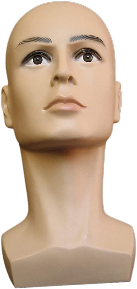 LEIPUPA Male Glossy Mannequin Head Model With Long Neck And Shoulder for Showcase Glasses Hat Wig Scarves Displaying Natural Color
