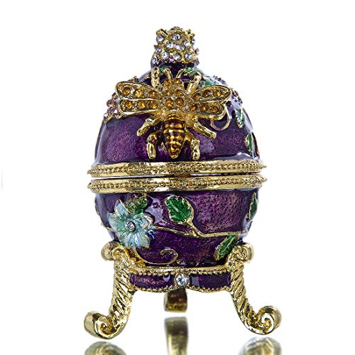 YU FENG Hand Painted Faberge Egg Jewelry Trinket Boxes with Bee and Flowers Figurine