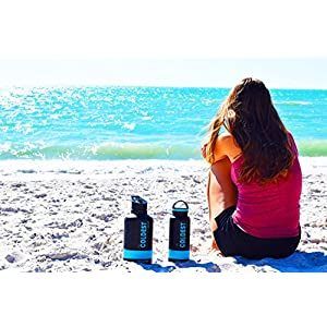 The Coldest Water Wide Size Mouth Hydro Sports Straw Cap Flip Top Lid - Multi-compatible with Wide Flask Mouth Size Stainless Steel Water Bottles, and Two straws, brush, caribiner (black)