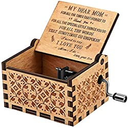 Kafete Music Box Hand Crank Engraved Musical Box-U R My Sunshine Mechanism Antique Vintage Personalizable Gift for Dear Mother from Son on Birthday Party