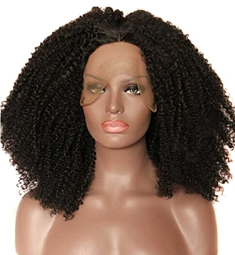 [Anogol 20 inches Tied Kinky Curly Synthetic Lace Front Wig for Black Women] (Wigs Au)