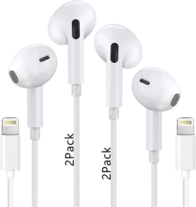 2 Pack-Lightning Connector Earbuds/Earphone Wired Headphones Headset with Built-in Microphone & Volume Control Compatible with Apple iPhone 12/11/11 Pro/X/7/7 8 Plus[Apple MFi Certified]Plug and Play