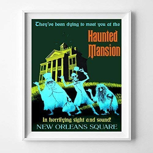 Giclee Art Matte (Disneyland Haunted Mansion Home Decor Print Wall Art Poster Office Decoration Living Room Gift Idea Giclee Vintage Artwork Reproduction - Unframed)