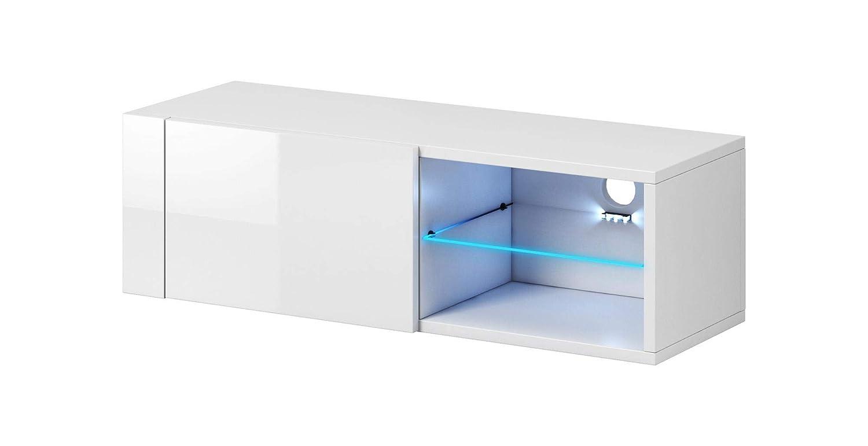 VIVALDI MEBLE LED TV Board weiß matt Hochglanz Fernsehtisch Sideboard Kommode Niedrigboard Schrank
