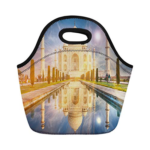 Agra Ivory Green - Semtomn Lunch Tote Bag the Taj Mahal Is Ivory White Marble Mausoleum South Reusable Neoprene Insulated Thermal Outdoor Picnic Lunchbox for Men Women
