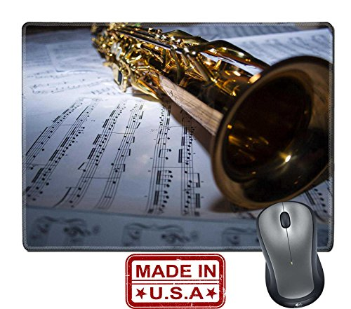 """Liili Natural Rubber Mouse Pad/Mat with Stitched Edges 9.8"""" x 7.9"""" A soprano saxophone lying on sheet music Photo 17187962 Free Saxophone Jazz Sheet Music"""