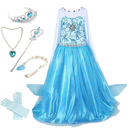 Flower Girl Fancy Dress Costumes (Anbelarui Girls Princess Deluxe Fancy Costume Snowflakes Flower Print Dress + Accessories Set (6-7 Years, #01 Dress&Accessories Set))