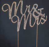 Mr and Mrs Rhinestone Cake Topper Wedding Bridal Shower or Anniversary Cake Topper (Silver)