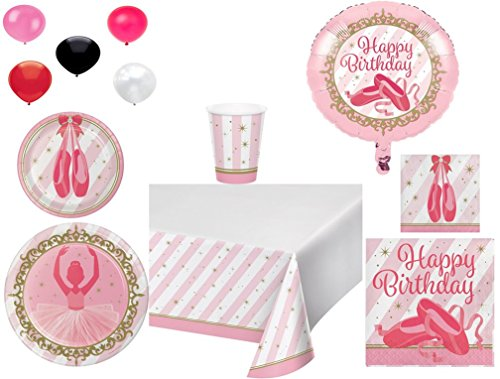 Disposable Plates/Napkins/Cups/Tablecloth/Balloons Twinkle Toes Happy Birthday Themed Party Pack, 8-Piece Bundle