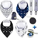 Baby Bandana Drool Bib by Dodo Babies Pack of 4 Premium Quality + 2 Pacifier Clip In a case + Gift Bag For Boys or Girls , Excellent Baby Shower / Registry Gift