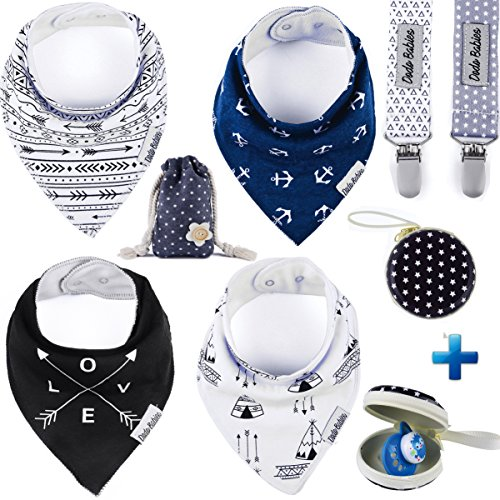 Baby Bandana Drool Bibs by Dodo Babies Pack of 4 Premium Quality + 2 Pacifier Clip In a case + Gift Bag For Boys or Girls , Excellent Baby Shower / Registry Gift