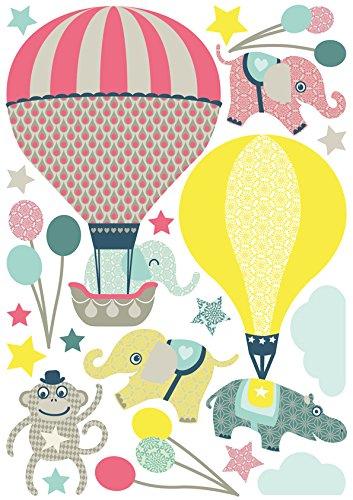 Wandtattoo f/ür Kinderzimmer//Babyzimmer mit Tieren in Hei/ßluftballons anna wand Wandsticker HOT AIR BALLOONS HELLBLAU//GRAU Wandaufkleber Schlafzimmer M/ädchen /& Junge Wanddeko Baby//Kinder