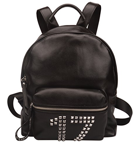 Fiswiss Women's Genuine Leather Fashion Backpack Purse School Backpack (Black) by Fiswiss
