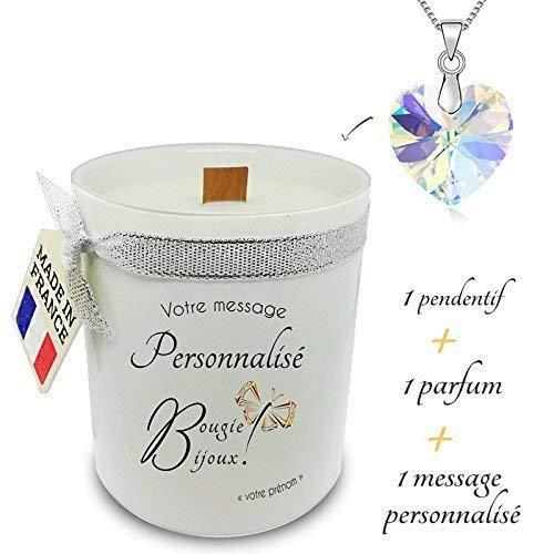 Cadeau pour femme, personnalisable'Bougie Bijoux' pendentif Cristal de Swarovski + Parfum + texte + bougie mèche en bois. Cadeau pour de multiple occasion de fête