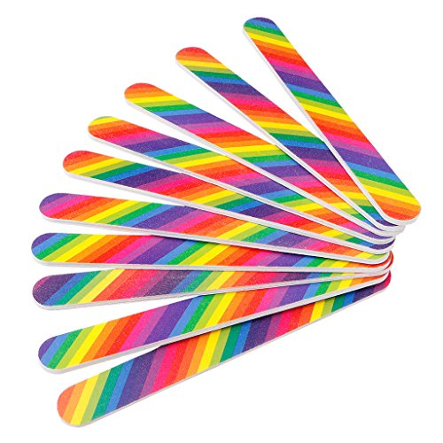 Misright 10Pc Double Sided Nail Art Sanding File Buffer Manicure Polisher Tool Rainbow Color ()