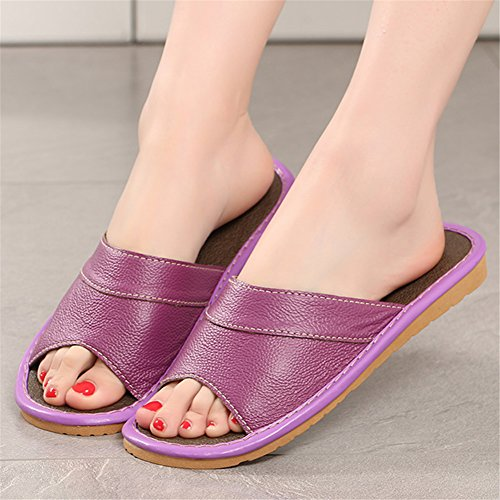 Slippers for Autumn W Leather Women Men TELLW Wooden Spring Smelly Corium Vert Anti Floor Cowhide Summer HqnPFxv