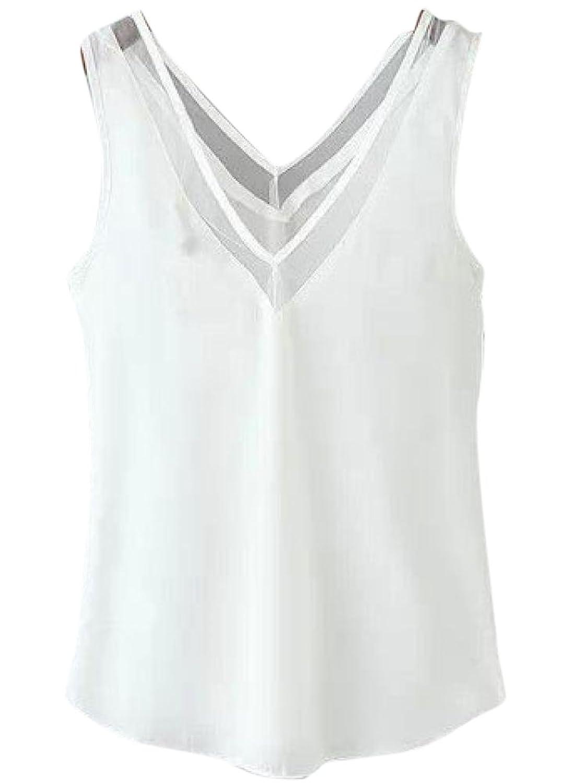 Friendshop V Neck Backless White Polyester Vest Sexy Tank Top